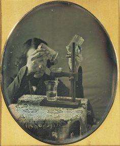 ca. 1843, [Self-portrait daguerreotype  of Robert Cornelius with laboratory instruments], Robert Cornelius  via the George Eastman House Collection, Still Image Archive