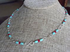 Turquoise and Sterling Dainty Short Necklace by APerfectGem $25.00 #southwestern #daintynecklace #sterlinglinks #turquoisenecklace #infinitylinks