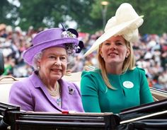 Queen Elizabeth II and Autumn Phillips attend Ladies Day on day 3 of Royal Ascot at Ascot Racecourse in Ascot, England.
