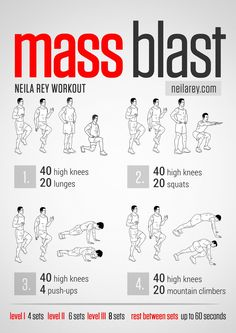 Mass Blast Workout / Works: Quads, calves, ankle joint, lower abs, triceps, biceps, chest, aerobic capacity, cardiovascular system #fitness #workout #workoutroutine #fitspiration