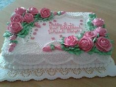 Buttercream Birthday Cake, Birthday Sheet Cakes, Buttercream Fondant, My Birthday Cake, Cake Icing, Cupcake Cakes, Cupcakes, Cake Decorating Icing, Cake Decorating Techniques