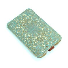 Leather iPhone (All) iTouch (All) case HTC -  Teal Double Lace. $50.00, via Etsy.