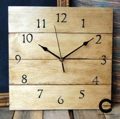 Pallet wood wall clock.Hand carved numerals. www.etsy.com/shop/CraftyIsland