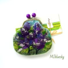 Wet Felted FLOWER Lilac Bushes coin purse Ready to Ship with bag frame metal closure Handmade gift for her under 50 USD #Etsy #Share #EtsyShop Shared by #BaliTribalJewelry http://etsy.me/1sDZ302