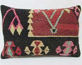kilim lumbar pillow 16x24 throw pillow turkish vintage pillow cover boho fabric primitive pillow case hippie throw pillow black pillow 22283