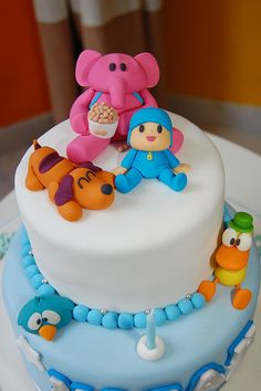 Pocoyo theme birthday cake, my son would love this Cute Cakes, Pretty Cakes, Beautiful Cakes, Amazing Cakes, Baby Cakes, Baby Shower Cakes, Fondant Cakes, Cupcake Cakes, Small Cake