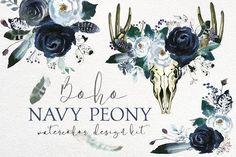 Boho Navy Peony Floral Design Kit by whiteheartdesign on @creativemarket