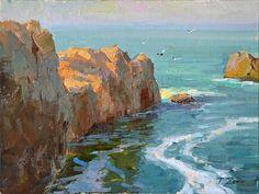 Morning at Point Lobos by Antonina Zenin Contemporary Landscape, Landscape Art, Landscape Paintings, Small Canvas Paintings, Seascape Paintings, Costa, Boat Painting, Large Painting, Painting Competition