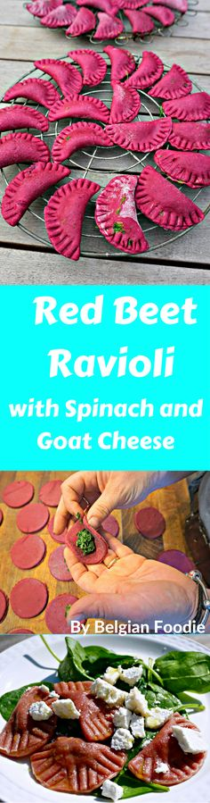 Red Beet Ravioli with Spinach and Goat Cheese is fun to make and. Red Beet Ravioli with Spinach and Goat Cheese is fun to make and eat with friends and family! Try making it with your kids! Beet Recipes, Pasta Recipes, Vegetarian Recipes, Cooking Recipes, Healthy Recipes, Cooking Ribs, Cooking Cake, Cooking Pasta, Camping Cooking