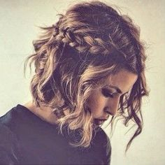 French plait and short wavy hair