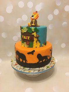 Safari theme first birthday cake. Side view