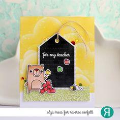 Card by Olga Moss. Reverse Confetti stamps: Honey Bear. Confetti Cuts dies: Honey Bear, Dashed Line Tag. RC 6x6 paper: Fun Times. Teacher card.