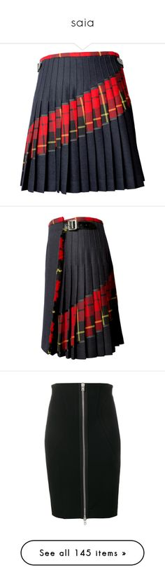 """saia"" by jacqueline-martins ❤ liked on Polyvore featuring skirts, bottoms, red tartan and black, fringe wrap skirt, red plaid skirt, fringe skirt, knee length pleated skirt, plaid pleated skirt, tartan pleated skirts and red wrap skirt"