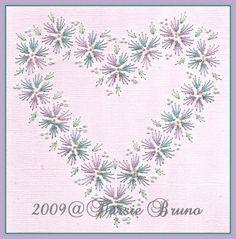 Motif de broderie coeur floral mariage Valentine papier pour cartes de souhaits