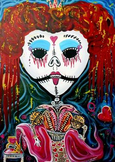 ✯ Red Queen Original Folkart Painting .. By Laura Barbosa✯