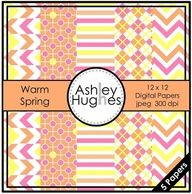FREE Warm Spring: 12x12 Digital Papers for Commercial Use