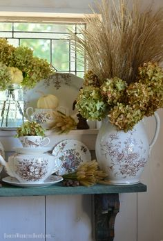 In the Potting Shed: Brown Transferware, Hydrangeas and Pumpkins   homeiswheretheboatis.net
