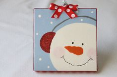 snowman ornament 4x4 canvas by bristlesprout on Etsy