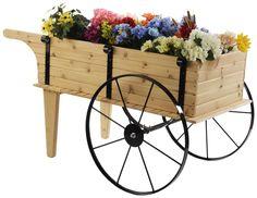 "Wooden Flower Cart w/ 30"" Steel Wheels – Red Cedar Wooden Cart, Wooden Diy, Front Porch Plants, Wooden Wheelbarrow, Sweet Carts, Wood Craft Patterns, Red Cedar Wood, Flower Cart, Outdoor Flowers"