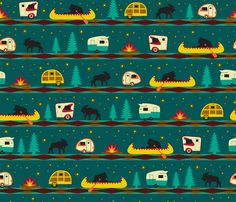 Items similar to Camping Fabric by the Yard Cotton Quilting Fabric Nursery Fabric Knit Minky Woodland Moose Canoe Fireflies Camper 1566615 on Etsy Fabric Wallpaper, Pattern Wallpaper, Wallpaper Backgrounds, Wallpapers, Camping Fabric, Spoonflower Fabric, Surface Design, Custom Fabric, Printing On Fabric