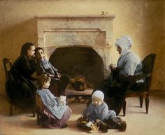 Image: Henri Jules Jean Geoffroy - Family seated around a hearth
