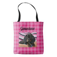 Personalized Dog Photo Paw Print Pink Tote Bag - dog puppy dogs doggy pup hound love pet best friend