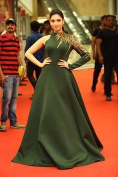 Tamanna Photos In Green Dress At Cinemaa Awards