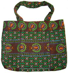 Extendable cotton shopping bag in African wax. Available on www.LuxAngelica.be