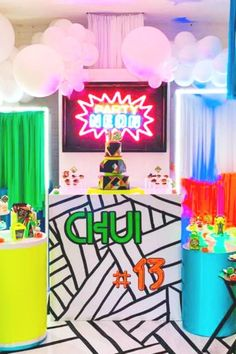 Don't miss this colorful neon birthday party! The dessert table is awesome! See more party ideas and share yours at CatchMyParty.com   #catchmyparty #partyideas #neon #neonparty Neon Birthday, Birthday Parties, Dessert Table Backdrop, Table Decorations, Neon Party, Backdrops, Photo Galleries, Neon Signs, Color