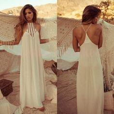 Mujeres se visten de 2015 largo sin mangas del verano del estilo del vestido de bohemia Vintage estilo palabra de longitud blanco sml 34