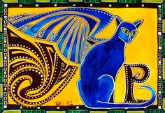 4th Day of my Cat Art challenge. Cat Paintings by Dora Hathazi Mendes. Winged Feline, with letter P. for #catlovers by #dorahathazi