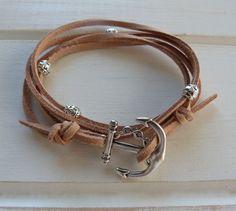 beachcomber nautical - natural turquoise faux suede - anchor wrap bracelet @Pierina C