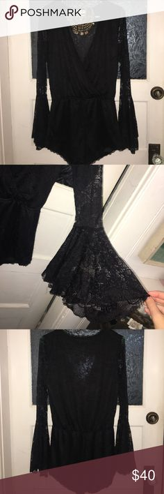 Lace romper Bell sleeve, lace romper. Purchased from Nasty Gal brand is Cotton Candy. Size Medium. Worn twice. Nasty Gal Pants Jumpsuits & Rompers