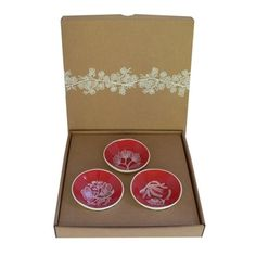 Red Flora Triple Porcelain Bowl Set