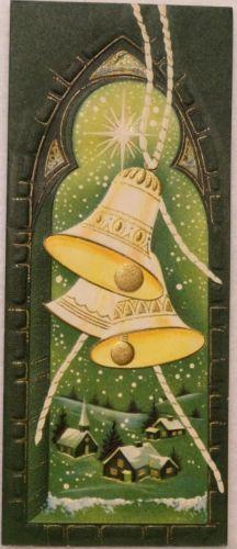 #1548 50s Unused Mid Century Bells in the Tower-Vintage Christmas Greeting Card