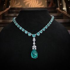 Jochen Leen Beyond Jewellery 56,45 carat of Paraïba Tourmalines combined with 5,23 carat of collection grade Diamonds.