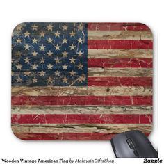 Wooden Vintage American Flag Mouse Pad