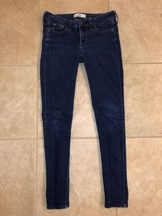 47091535b1e Hollister Skinny Jeans Size 0S Womens HCO Dark Wash Stretch W24 L29 EUC   fashion