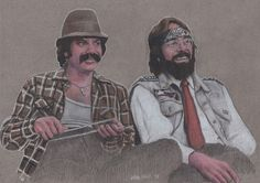 Cheech and Chong colored pencil drawing by Dean Huck on ARTwanted