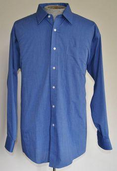 Men's Size 17.5/35 Roundtree & Yorke Blue Dress Shirt 60% Cotton 40% Polyester