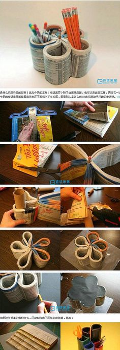 Now I know what to do with those phone books they keep dropping at my front door! :D DIY Office Oranizer diy crafts craft ideas easy crafts diy ideas diy idea diy home easy diy crafty decor home ideas diy organization diy organizing oranization ideas Easy Diy Crafts, Fun Crafts, Crafts For Kids, Paper Crafts, Pencil Vase, Pencil Cup, Pot A Crayon, Diy Back To School, Best Pens
