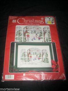 Christmas Traditions Winter Window Counted Cross Stitch Kit 1977 | eBay