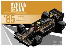 Ayrton Senna - 1985 Estoril Poster featuring the digital art Ayrton Senna - 1985 Estoril by Evan DeCiren
