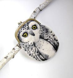 Snowy owl Wet Felted coin purse,Shoulder Bag,Ready to Ship with bag frame metal closure Hand made gift for her