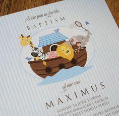 Noah's Ark Baptism invitation.