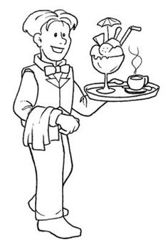 Waiter and Waitress Coloring Pages - Coloring Pages People Coloring Pages, Colouring Pages, Adult Coloring Pages, Coloring Sheets, Community Workers, Community Helpers, Classroom Jobs, Child Love, Embroidery Applique