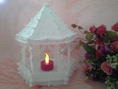 "This would look great on a wedding cake, used as a baby shower decoration or even a decorative lantern on a table. I'm using mine as a decorative table lantern. Perfect for those evenings outside"" Freestanding lace is so versatile. This Freestanding Lace Gazebo or Lantern has been crafted and"