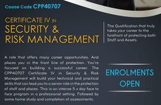 The program focuses on the development and monitoring of Security Risk Assessments. Certificate IV is about doing threat, risk and asset assessments autonomously on behalf of a corporation, entity or government department. Work as a security risk assessor is varied, interesting and challenging. #CertificateIVTraining