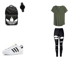 """Just a Normal School Day"" by queenb-676 ❤ liked on Polyvore featuring Gap, WithChic, adidas and CLUSE"