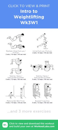 Intro to Weightlifting – Wk3W1 – click to view and print this illustrated exercise plan created with #WorkoutLabsFit